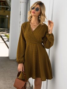 Surplice Front Flare Hem Houndstooth Print Dress