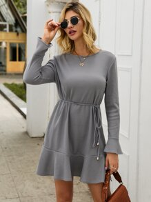 Ribbed Ruffle Hem Flounce Sleeve Dress