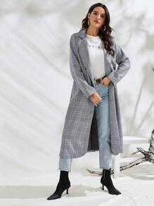Double Breasted Lapel Collar Plaid Coat