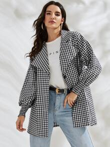 Shirred Cuff Gingham Raglan Sleeve Coat