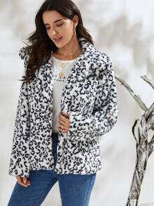 Leopard Print Open Front Faux Fur Coat
