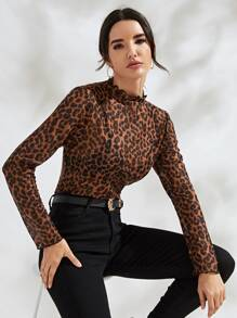 Mock Neck Leopard Print Sheer Mesh Tee