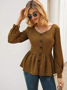 Houndstooth Print Button Front Ruffle Hem Blouse
