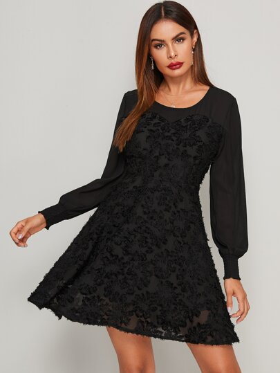 Floral Mesh Shirred Cuff Flared Hem Dress