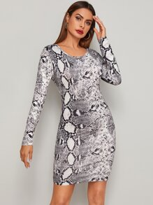Snakeskin Print Long Sleeve Fitted Dress