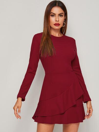 Solid Ruffle Hem A-line Dress