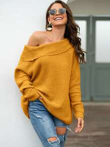 Off The Shoulder Foldover Waffle Knit Sweater