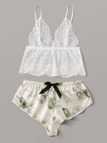 Floral Lace Sheer Bralette With Satin Shorts