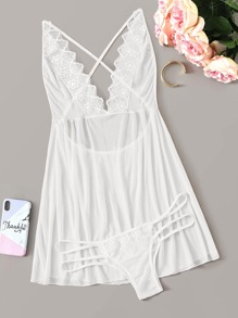Criss Cross Back Sheer Mesh Dress With Thong