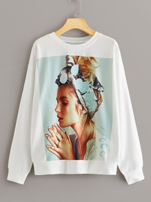 Figure Graphic Round Neck Sweatshirt