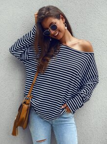 Boat Neck Striped Oversized Tee