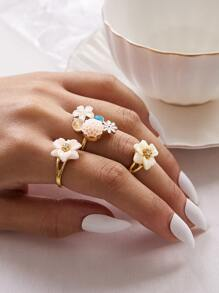 3pcs Flower & Rhinestone Decor Ring