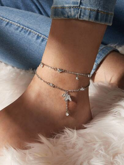 2pcs Rhinestone Engraved Butterfly & Heart Decor Anklet