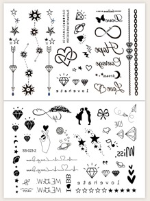 Crown & Star Pattern Tattoo Sticker 2pcs