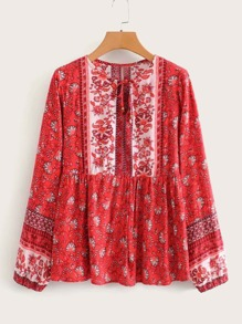 Allover Floral Print Tie Front Peasant Blouse
