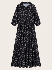 Ditsy Floral Flare Hem Shirt Dress