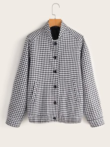 Houndstooth Button Through Bomber Jacket