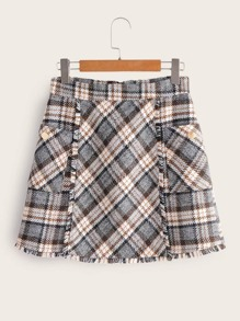 Tartan Plaid Frayed Trim Tweed Skirt