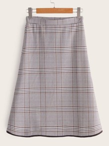 Plaid Contrast Trim A-line Skirt