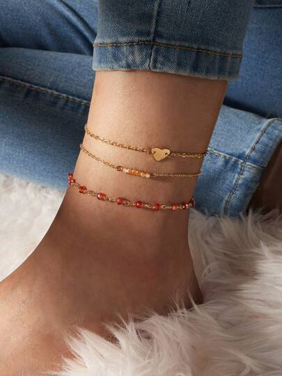 3pcs Crystal Beaded Chain Anklet