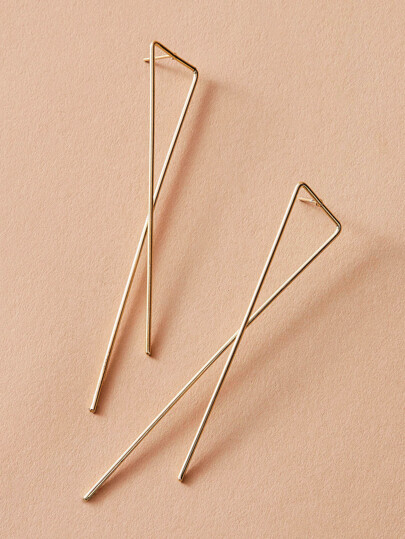 1pair Geo Long Bar Earrings