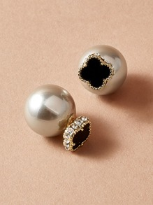 1pair Faux Pearl Double Stud Earrings