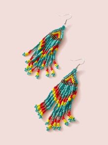 1pair Turquoise Beaded Fringe Earrings