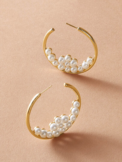 1pair Faux Pearl Detail Hoop Earrings