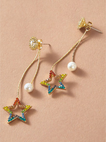 1pair Open Rhinestone Star Drop String Earrings