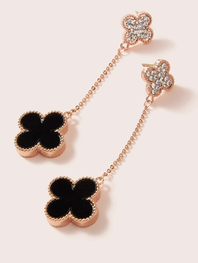 1pair Rhinestone Clover String Earrings