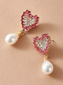 1pair Rhinestone Heart Faux Pearl Drop Earrings