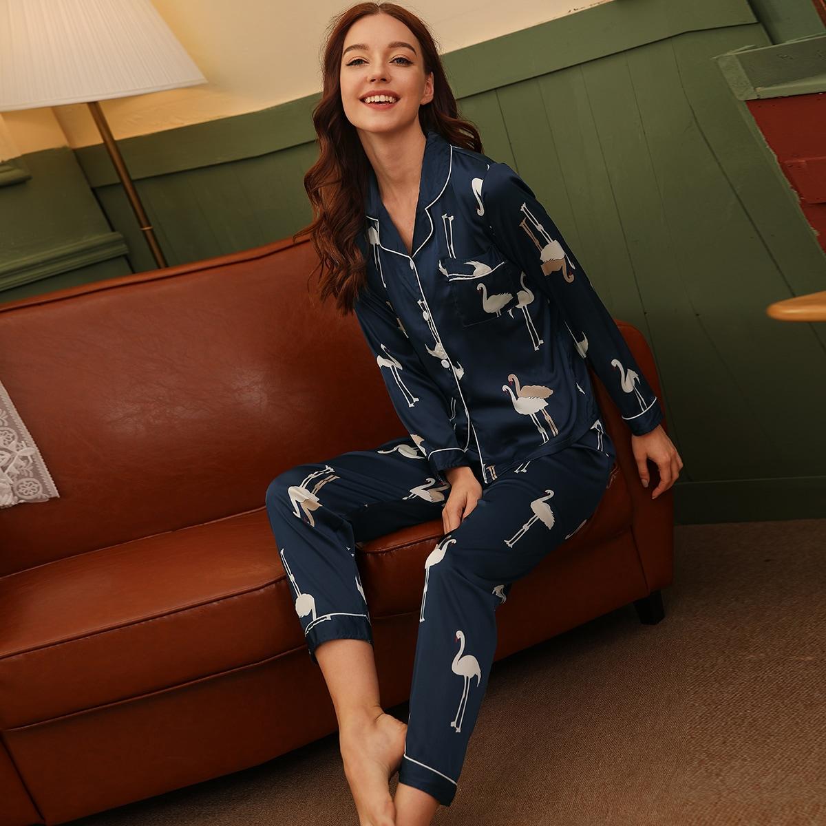 Satin Schlafanzug Set mit Flamingo Muster
