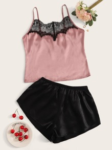 Contrast Lace Satin PJ Set