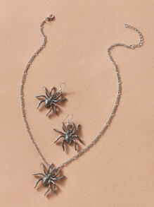 1pc Spider Necklace & 1pair Earrings