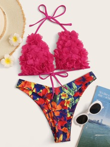 Flower Appliques Top With Floral Print Bikini Set