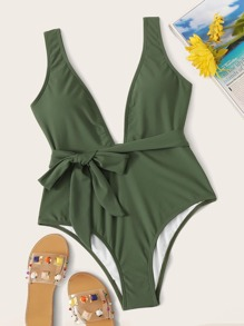 Knot Waist Plunging Neck One Piece Swimwear