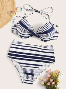 Striped Twist Halter Bikini Set
