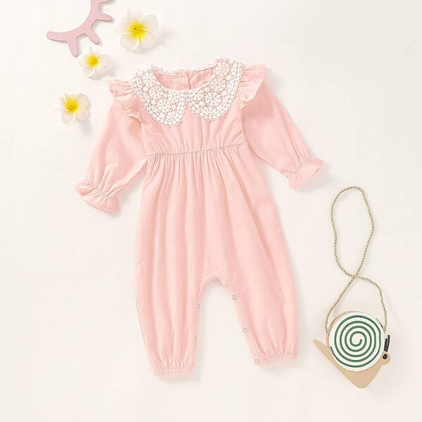 Baby Girl Contrast Lace Ruffle Trim Popper Jumpsuit, Baby pink