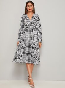 V Neck Self Tie Houndstooth Wrap Dress