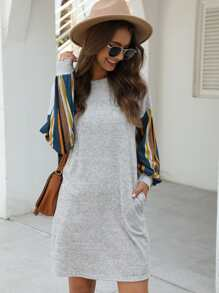 Contrast Striped Sleeve Slant Pocket Tee Dress