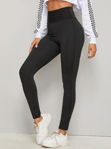 Wide Waistband Solid Skinny Leggings