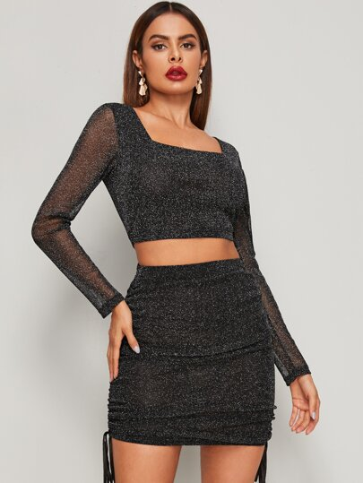 Glitter Square Neck Crop Top & Drawstring Skirt
