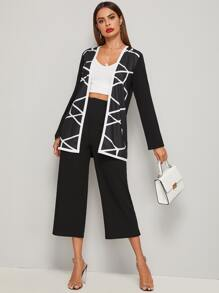 Geo Print Open Front Coat & Pants