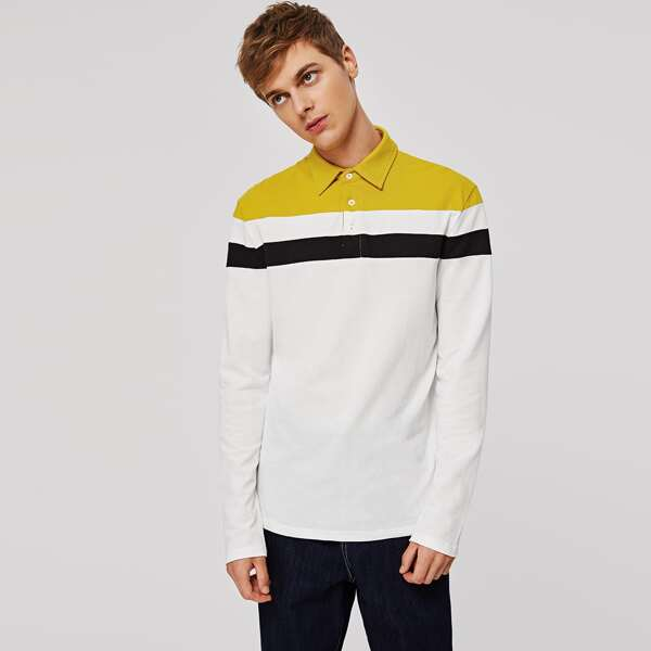 Men Colorblock Striped Polo Shirt, White