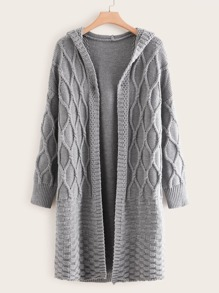 Plus Cable Knit Open Front Hooded Cardigan