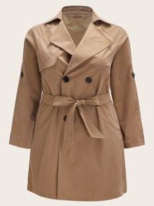 Plus Self Tie Double Breasted Trench Coat