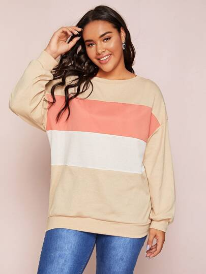 Plus Colorblock Drop Shoulder Sweater