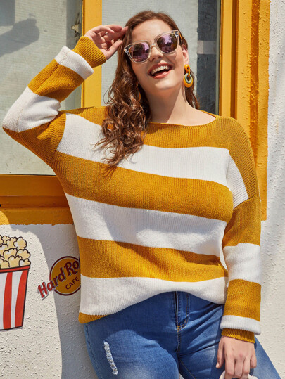 Plus Colorblock Boat Neck Sweater
