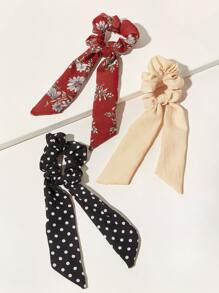 3pcs Polka Dot & Floral Pattern Scrunchie Scarf