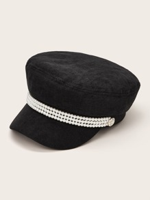 Faux Pearl Beaded Band Decor Bakerboy Hat
